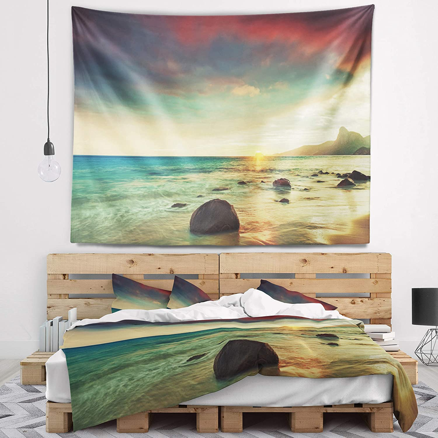 Large x 50 in. Designart TAP14850-60-50 Colorful Rocky Beach Seashore Tapestry Blanket D/écor Wall Art for Home and Office 60 in