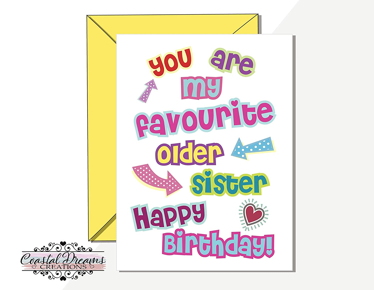 Funny Older Younger Sister Happy Birthday Card You Are My Favourite