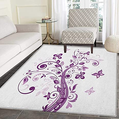 Mauve Rugs for Bedroom Tree with Swirled Branches and Flowers Leaf  Butterfly Bridal Inspirations Theme Circle Rugs for Living Room 2\'x3\'  Purple White