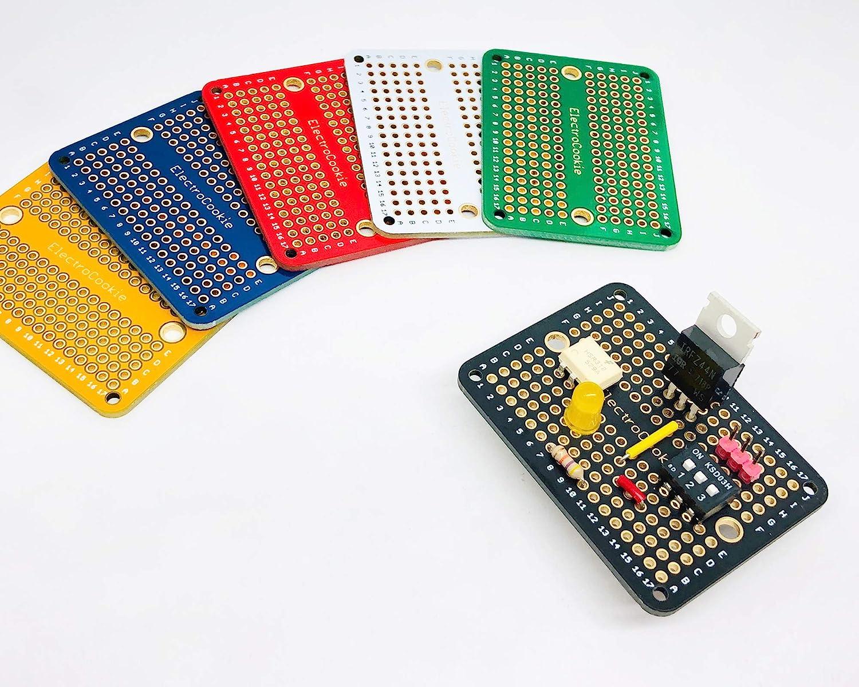 Chapado en Oro placa de circuito impreso prototipo PCB Breadboard de tama/ño completo para proyectos de Arduino y Electr/ónica ElectroCookie 3 Unidades, Azul