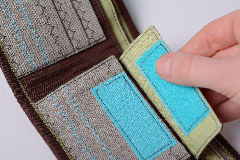 Madeheart Cartera hecha a mano de tela de lino y denim de mujer original: Amazon.es: Hogar