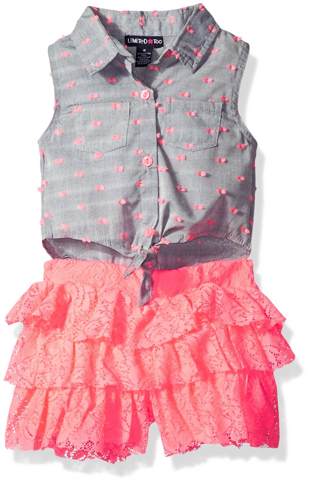 Limited Too Girls' Fashion Short Romper, 1205-Neon Coral, 6X