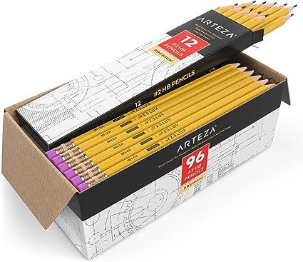 Arteza Lápices HB2, caja de 96 lapiceros de madera afilados de ...