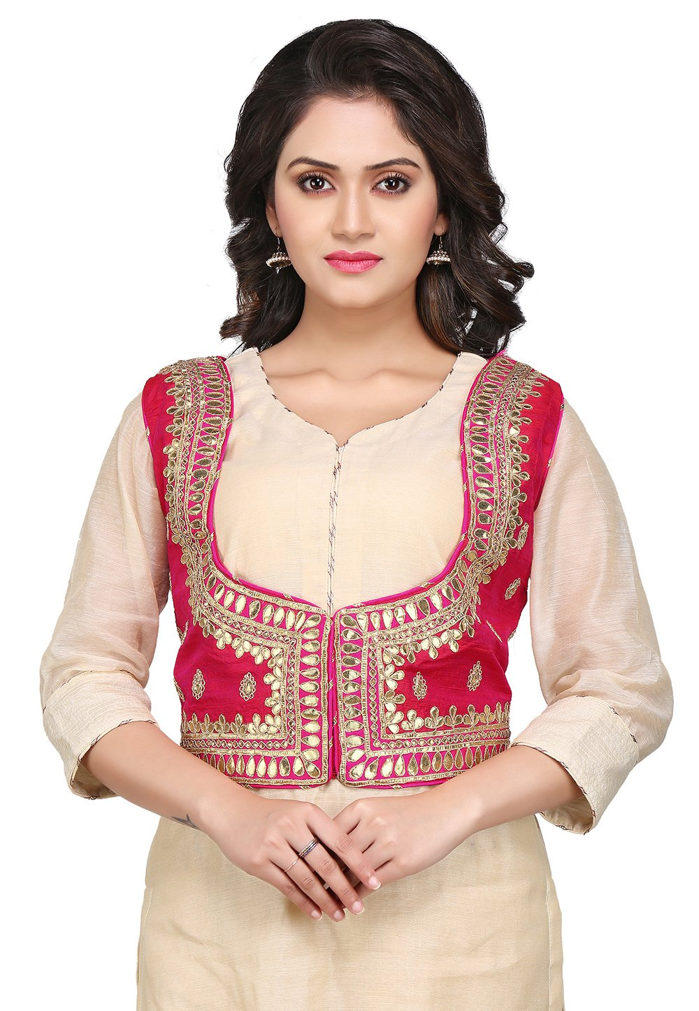 Utsav Fashion Gota Patti Dupion Silk Jacket in Fuchsia by Utsav Fashion