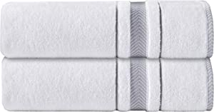 AROW9 - Luxury Plush 2-Pack Soft Bath Sheet Towel Set for Home Bathroom & Spa - 100% Turkish Quality Cotton, Absorbent - 'Dove's Comfort' Design - White