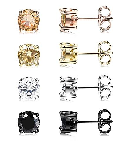 a6fec8fa8 Jstyle Stud Earrings for Women 18K White Gold Rose Plated CZ Halo Earrings  Created Opal Earrings