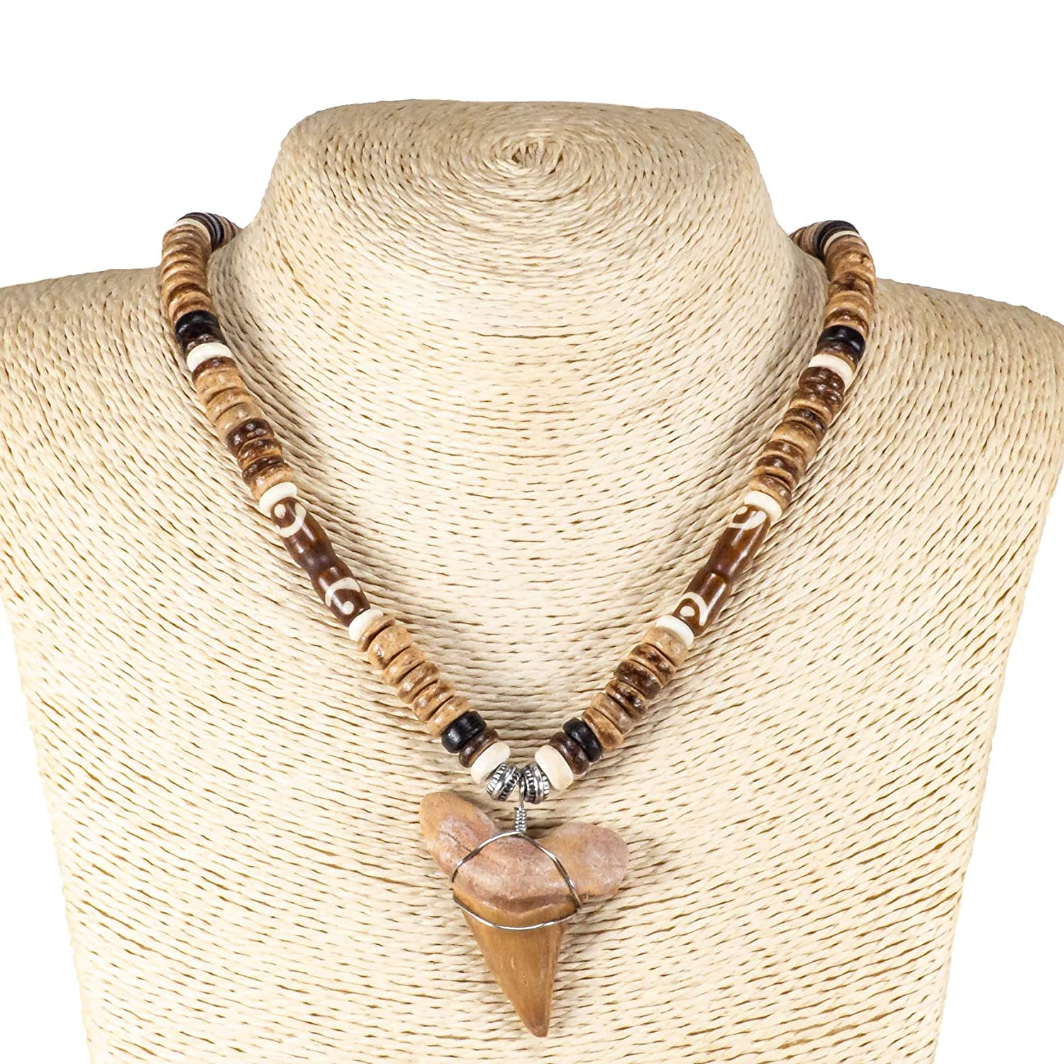 BlueRica Shark Tooth Pendant on Tiger Coconut Beads /& Brown Tubes Necklace 3S