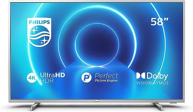 Televisor 4K UHD Philips 58PUS7555/12 de 146 cm (58 pulgadas) (4K UHD, P5 Perfect Picture Engine, Dolby Vision, Dolby Atmos, HDR 10+, Saphi Smart TV, HDMI, USB), Color plata (modelo de 2020/2021): Amazon.es: Electrónica