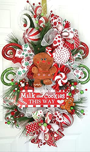 christmas swag christmas wreath holiday gingerbread wreath holiday swag gingerbread decor - Christmas Swag Decorations