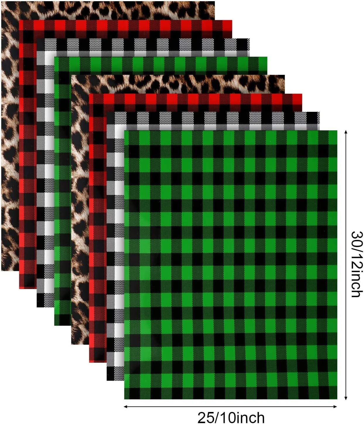 8 Sheets Christmas Buffalo Plaid HTV Heat Transfer Vinyl Leopard Pattern Vinyl Buffalo Vinyl for DIY T-Shirts Bag Hat Pillow Crafts Red, White-Black, Green, Leopard 12 x 10 Inch