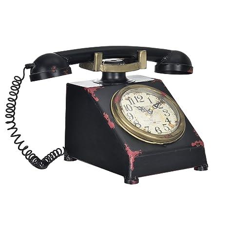 [en.casa]® Reloj de mesa decorativo diseño teléfono - pantalla analógica -