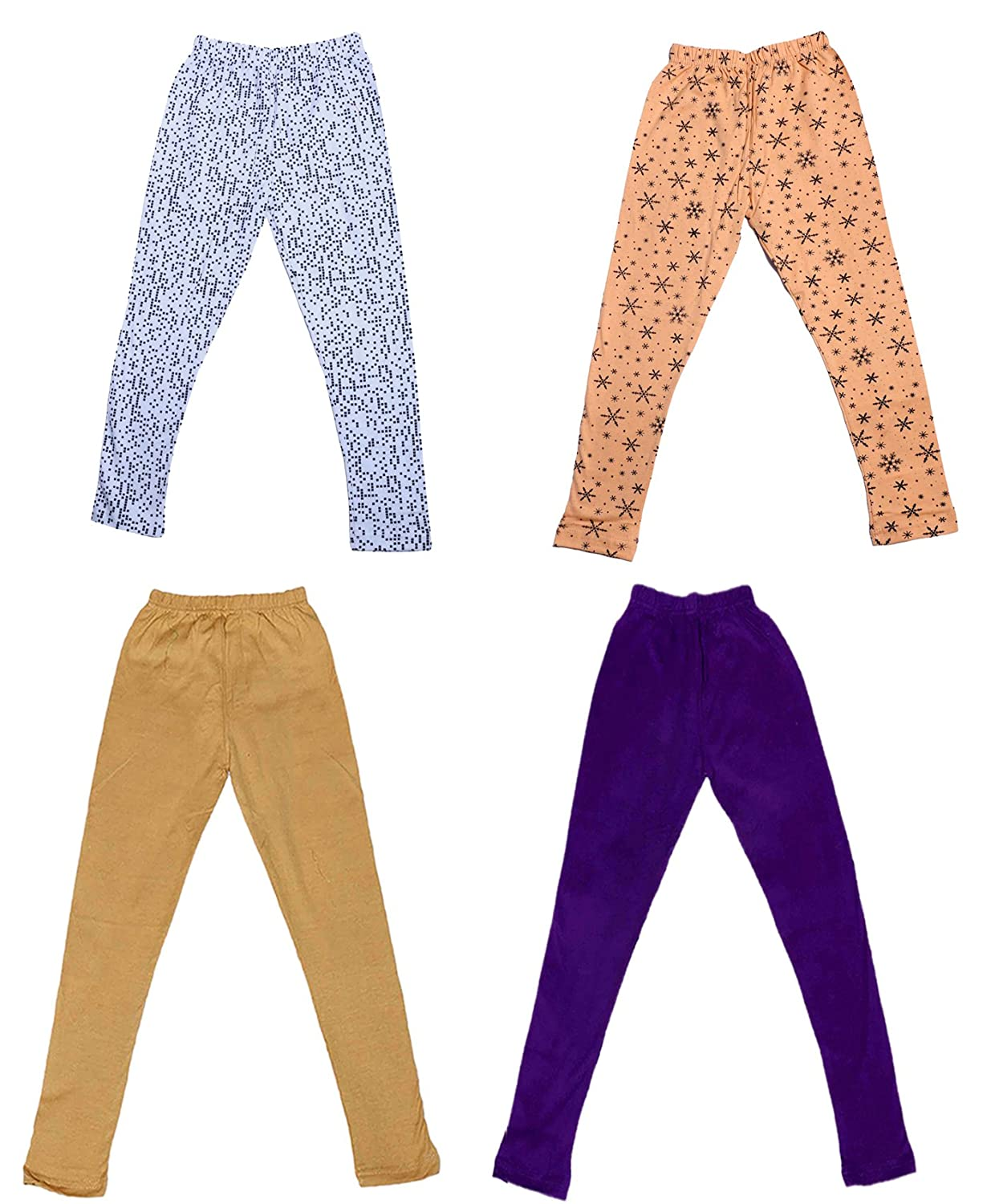 Indistar Girls 2 Cotton Solid Legging Pants /_Multicolor/_Size-7-8 Years/_71401021921-IW-P4-30 Pack Of 4 and 2 Cotton Printed Legging Pants