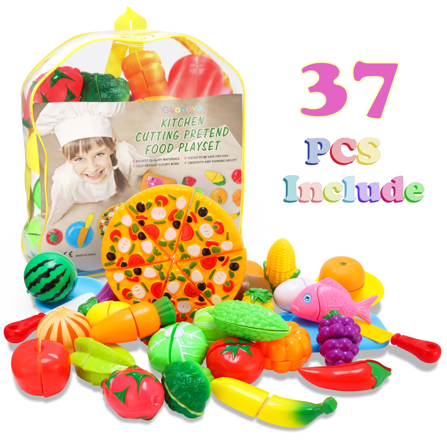 Glonova Play Food Cutting for Toddlers Kids, 37 Pcs Kitchen Toys Cutting Vegetables Fruits with Pizza Play Food Set Pretend Cutting Food Playset with Carry Bag for Children Girls Boys by Glonova