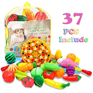 Glonova Play Cutting Food for Kids, 37 Pcs Kitchen Toys Fun Cutting Fruits Vegetables with Pizza Play Food Set Pretend Cutting Food Playset with Carry Bag for Children Girls Boys