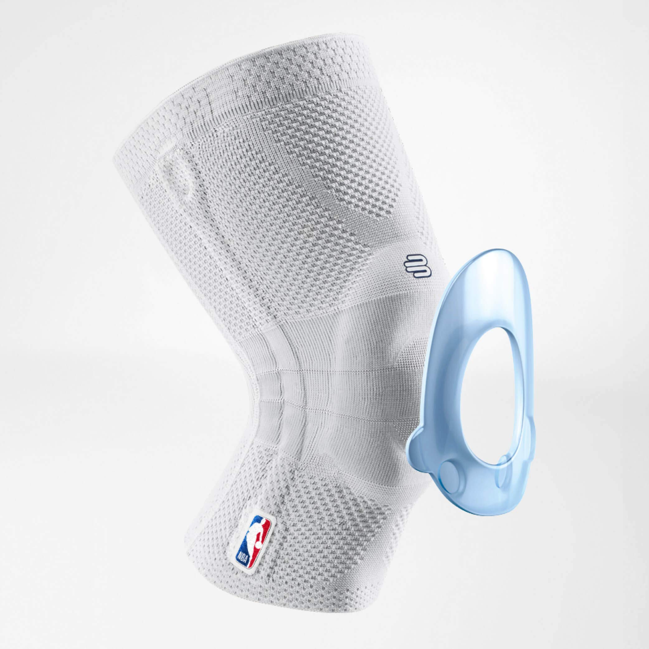 Bauerfeind GenuTrain NBA Knee Brace - Basketball Support with Medical Compression - Sleeve Design with Patella Pad Gel Ring for Pain Relief & Stabilization (White, S) by Bauerfeind (Image #3)