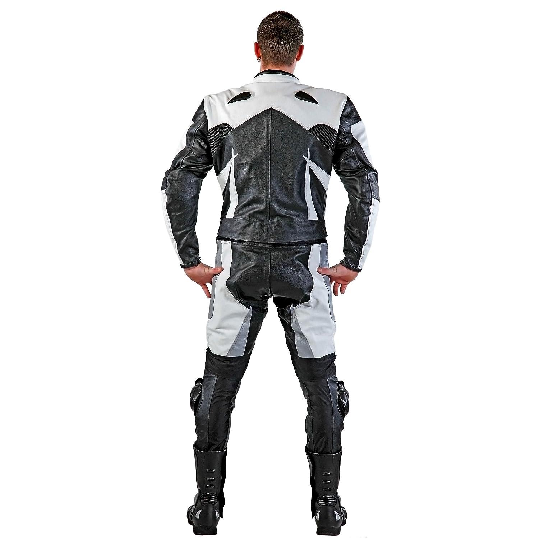 Traje de piel para motorista blanco y plateado Lemoko talla S-4XL color negro 2 piezas