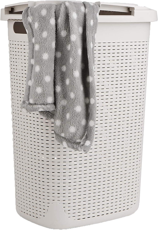 Mind Reader Basket Laundry Hamper with Cutout Handles, Washing Bin, Dirty Clothes Storage, Bathroom, Bedroom, Closet, 60 Liter, Ivory