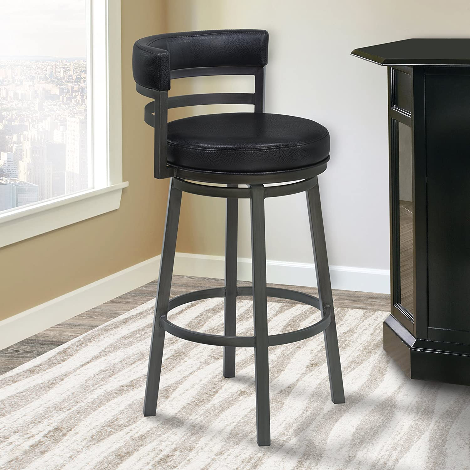 Armen Living Madrid 26 Counter Height Swivel Barstool in Ford Black Faux Leather and Mineral Finish