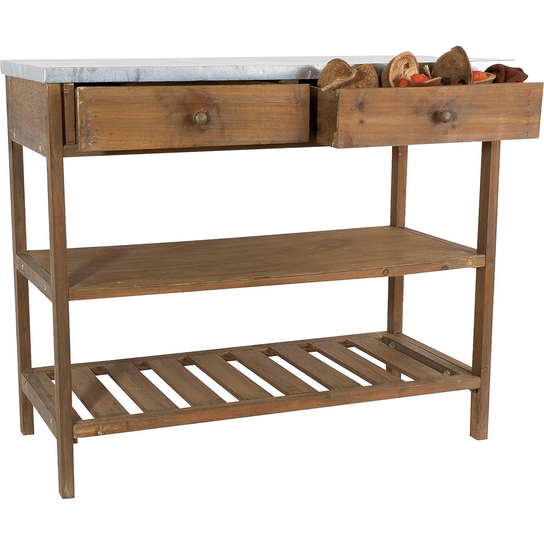 Gartentisch Pflanztisch Gärtnertisch Deko Tisch im Vintage Shabby Chic Look braun / grau Lesli Living