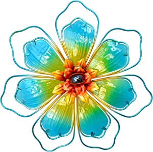 GIFTME 5 Metal Glass Floral Wall Art Decor(12.5 Inch,Turquoise)