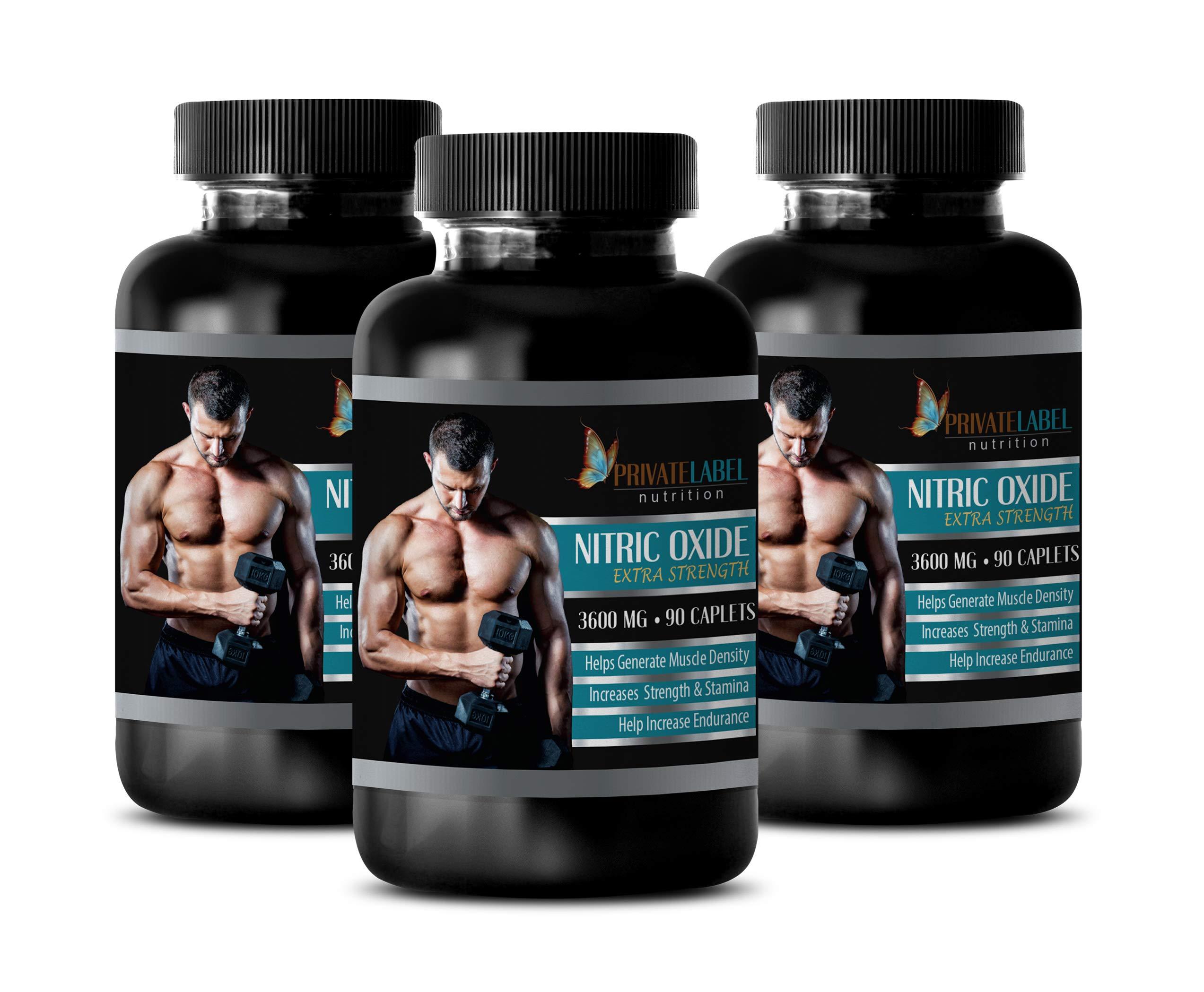 pre Workout for Men Pump - Nitric Oxide Extra Strength 3600 Mg - l-arginine Blood Pressure - 3 Bottles 270 Caplets