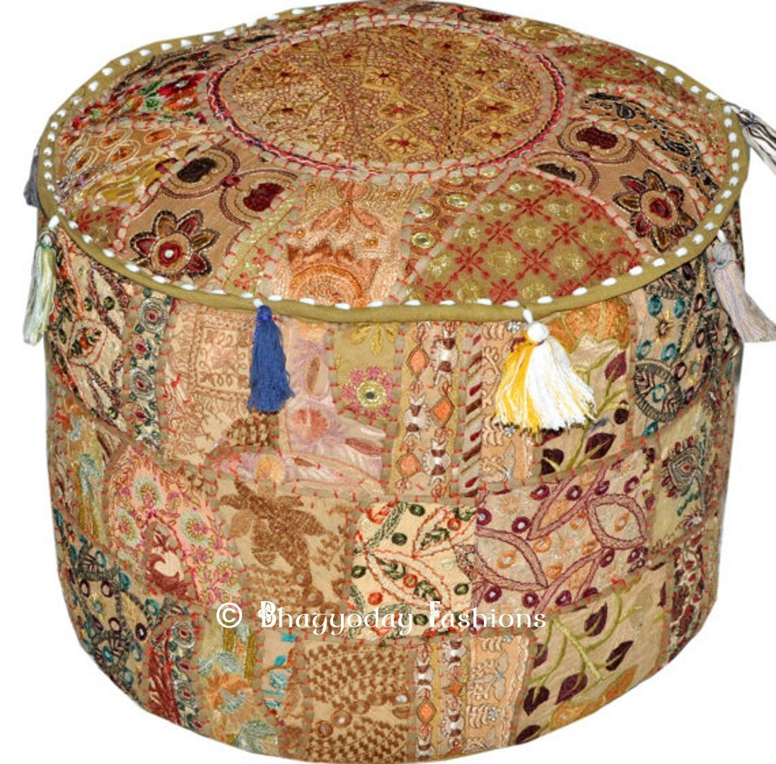 Indian Vintage Ottoman Pouf Cover ,Patchwork Ottoman, Living Room Patchwork Foot Stool Cover,Decorative Handmade Home Chair Cover 14x22x22 Inch. Icrafts Yellow_Pouf