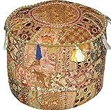 Indian Vintage Ottoman Pouf Cover ,Patchwork