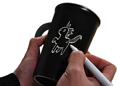 Iris&Boreas [Taza pizarra Personalizada] con [bolígrafo blanco] para Escribir Mensajes, Palabras o Dibujar [Mug Personalizable], Idea regalo original ...