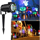 Halloween Decorations Projector LED Lights Waterproof Landscape Projection LED Light with 10 Switchable Patterns for Christmas Auto Rotating Projection LED Snowflake spotlight (Mulit-Color)