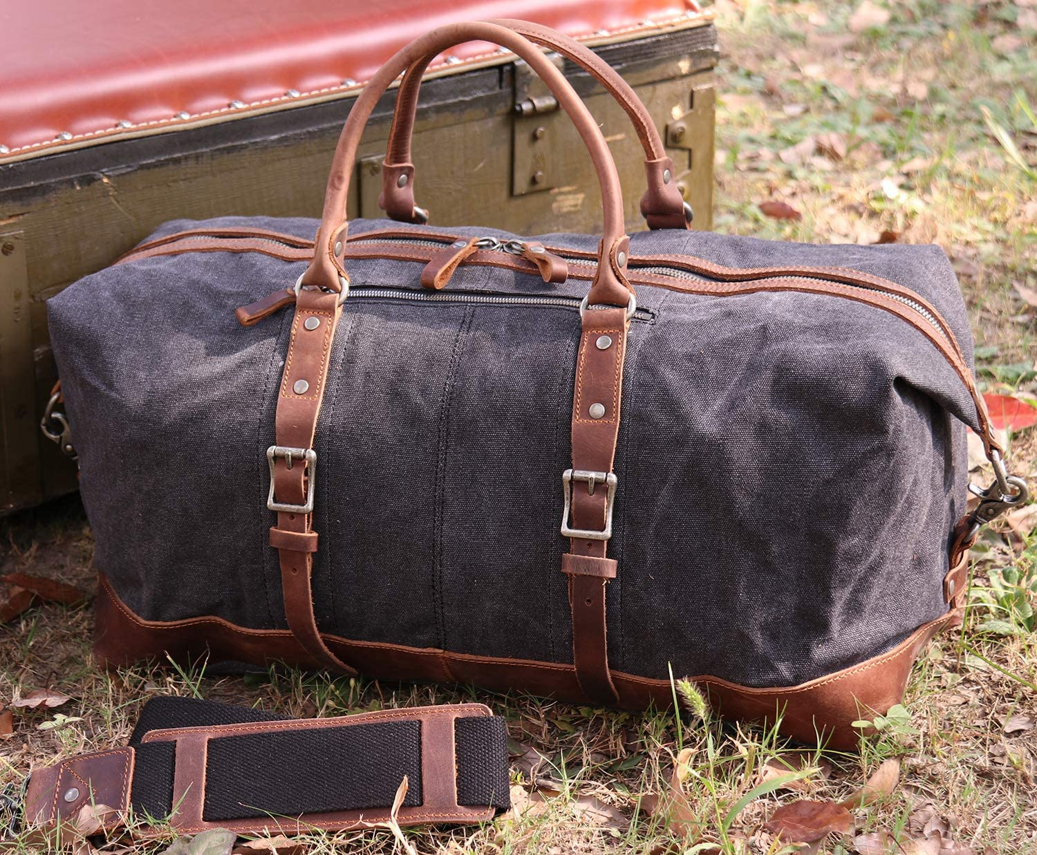 Iblue Genuine Leather Travel Weekend Bag Carry On Duffel Tote Luggage Black D04 #D04 black