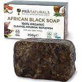 PraNaturals Jabón Negro Africano 200g, Orgánico y Vegano para Todo Tipo de Pieles, de Origen y Artesanal en Ghana…