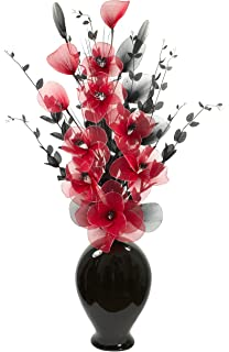 Tall floor vase for living room or hall with black and white tall floor vase for living room or hall with red artifical flower arrangement large black mightylinksfo