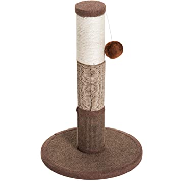 PawHut Poste Rascador para Gato Rascador Árbol para Arañar 1 Bola de Juego Cubierta de Felpa Sisal Natural 30x30x46cm Marrón: Amazon.es: Jardín