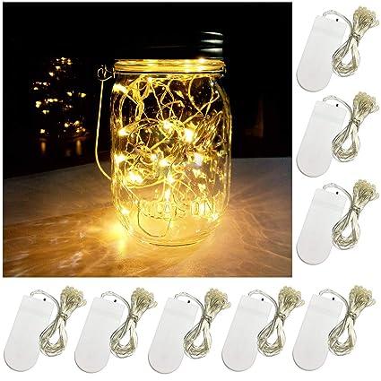yitee battery powered mason jar lantern lights8 pack warm white 20 led string fairy