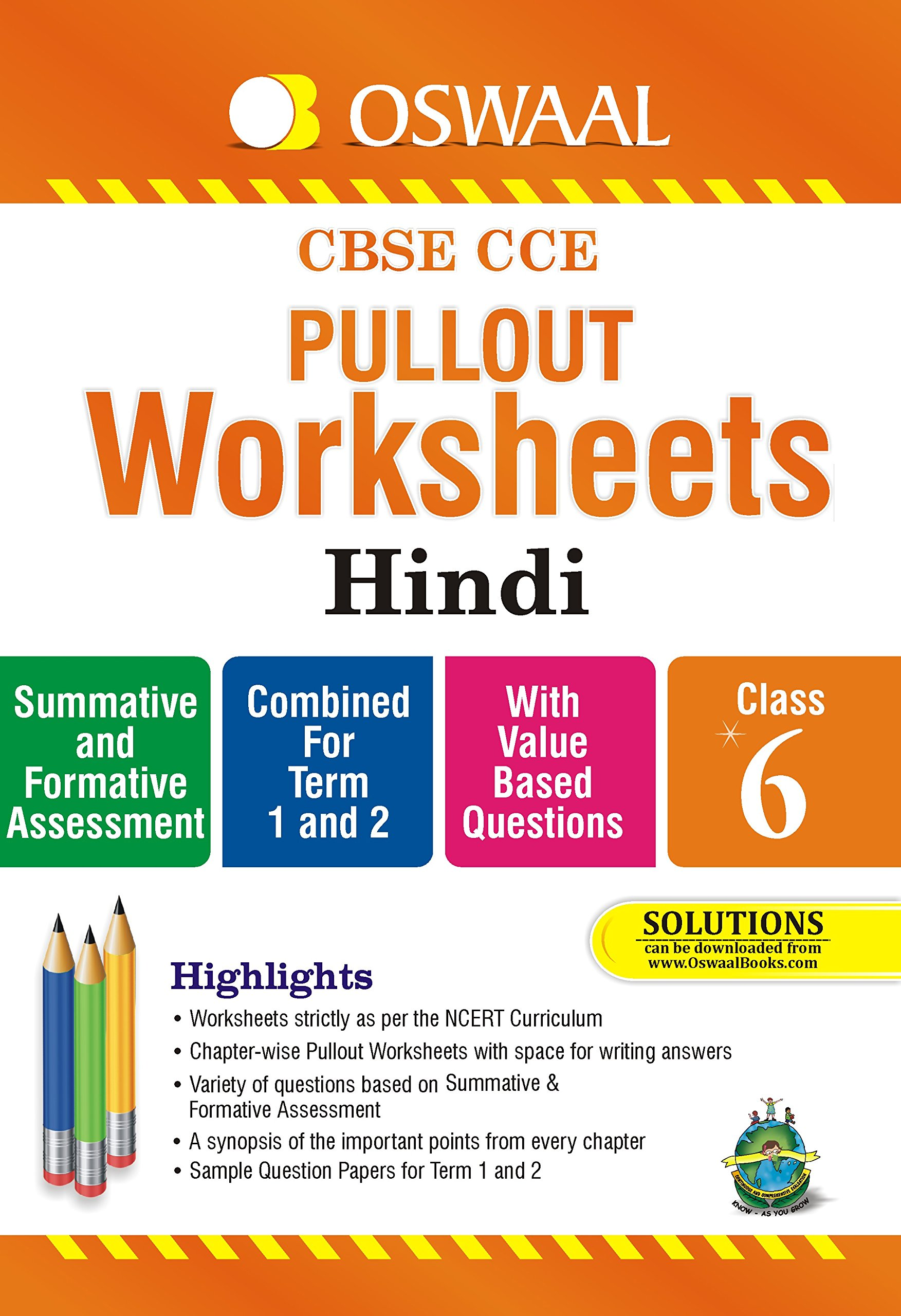 Oswaal Cbse Cce Pullout Worksheets Hindi For Class 6 Amazon