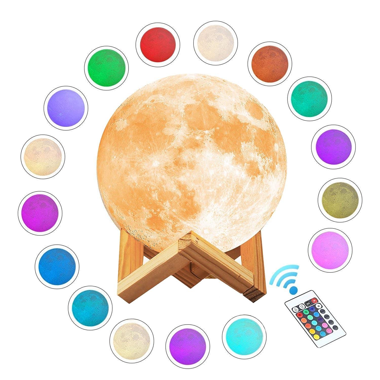 Yeeper 16 Colores 3D Lámpara de Luna, Control Remoto ...