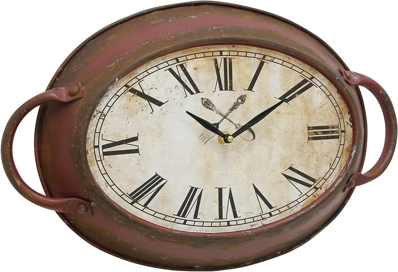 Stonebriar High Plains Red Rust Metal Oval Wall Clock,