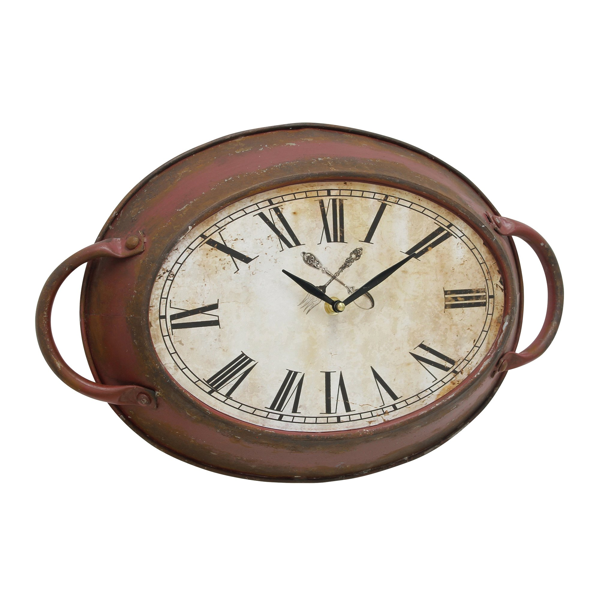 Stonebriar Rustic Farmhouse Oval Metal Wall Clock with Red Rust Finish, Shabby Chic and DIY Home Decor Accents for the Kitchen, Living Room, and Bedroom, Battery Operated by Stonebriar (Image #1)
