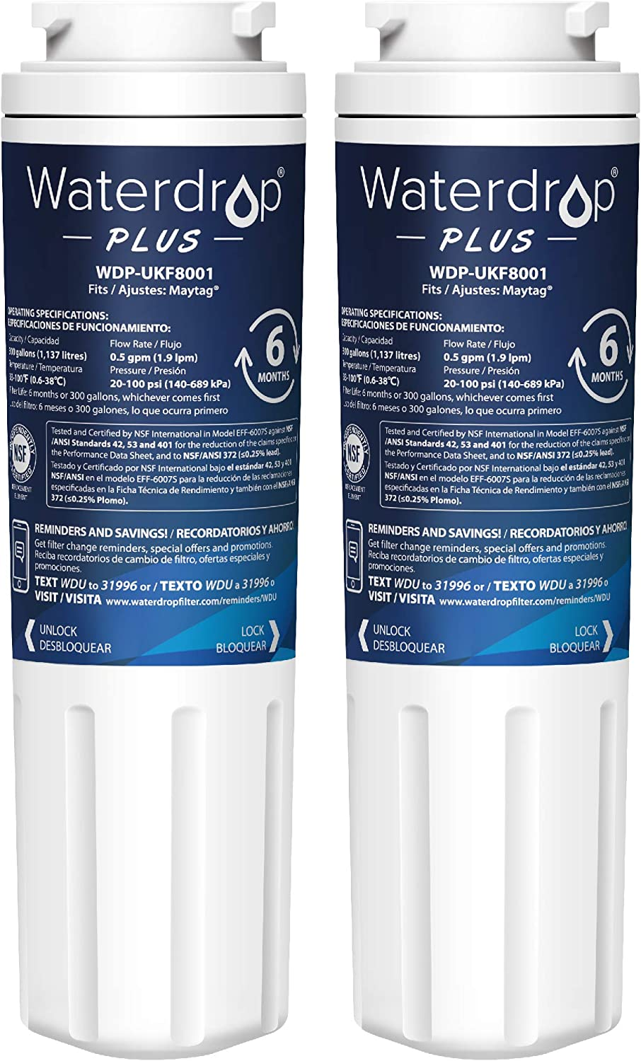 Waterdrop Plus UKF8001 Refrigerator Water Filter, Compatible with Maytag UKF8001AXX-750, UKF8001AXX-200, Whirlpool 4396395, 469006, Filter 4, PUR, Puriclean II, EDR4RXD1, Pack of 2