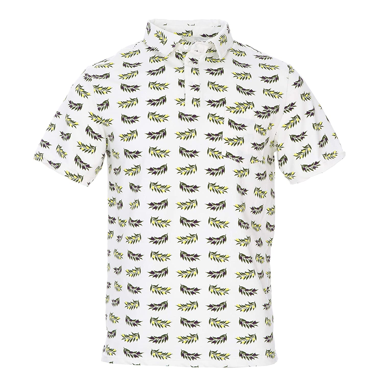 L KicKee Menswear Print Short Sleeve Performance Jersey Polo in Natural Olive Branch