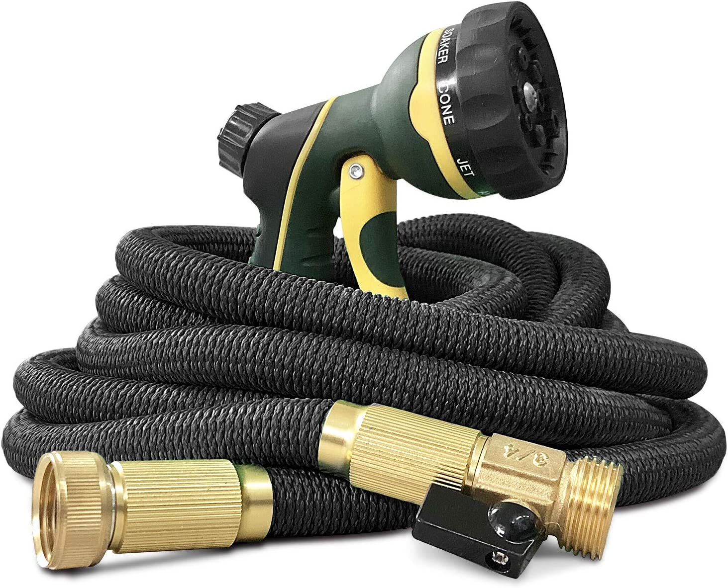 NGreen Garden Hose Flexible and Expandable - Collapsible Water Hose with Solid Brass Fittings and Spray Nozzle, Lightweight Retractable Leakproof Durable Gardening Hose Easy Storage Kink Free (50 FT)