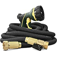 "NGreen Flexible and Expandable Garden Hose - Strongest Triple Latex Core with 3/4"" Solid Brass Fittings Free 8 Function…"