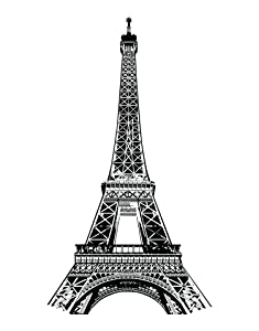 Stickerbrand Eiffel Tower Wall Decal Sticker World Famous Landmark from Paris France. Large 6ft Tall (72in x 40in). Black Color