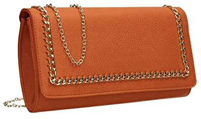 f9dadff1955ac2 Ella Chain Detail PU Leather Flapover Womens Party Prom Ladies Clutch Bag -  Scarlet Orange