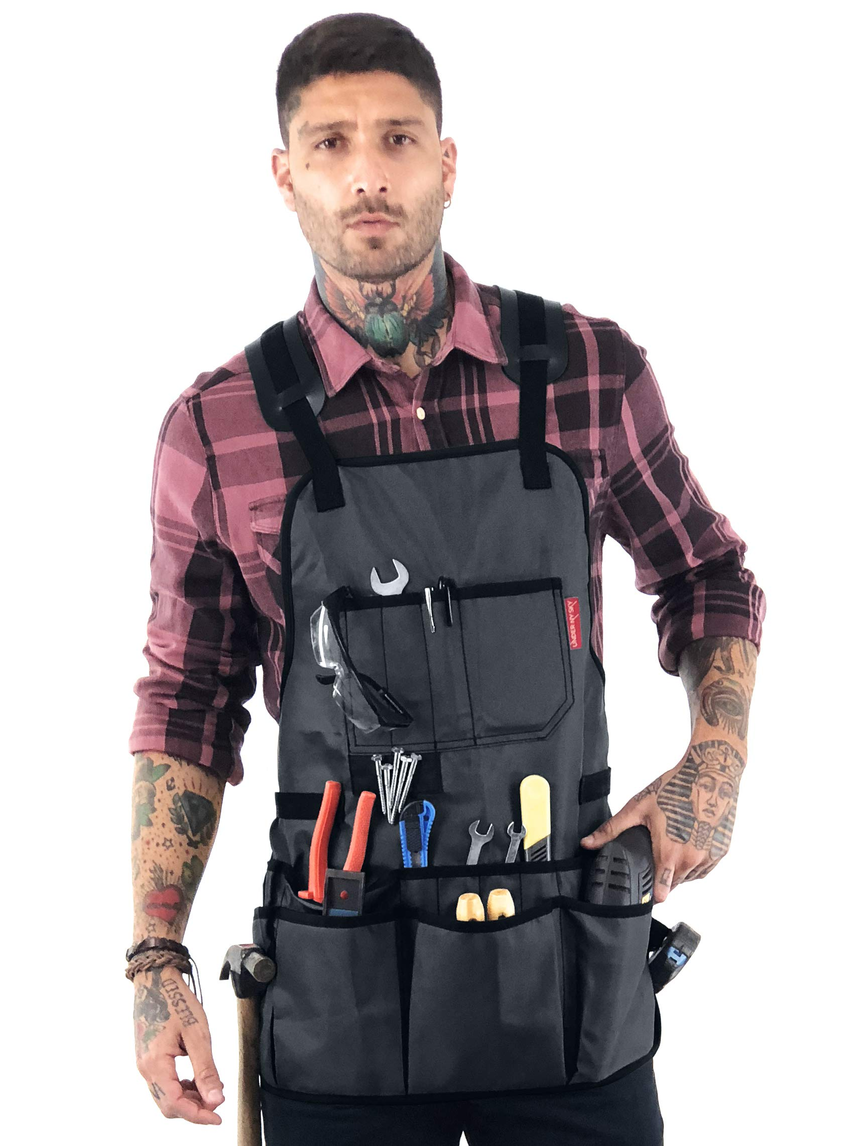 Under NY Sky Tool Apron - Magnetic Tool Holder - Heavy Duty Gray Oxford Canvas - Cross-Back - 18 Pockets - Adjustable for Men, Women - Pro Mechanic, Woodworker, Carpenter, Electrician, Gardener Apron by Under NY Sky