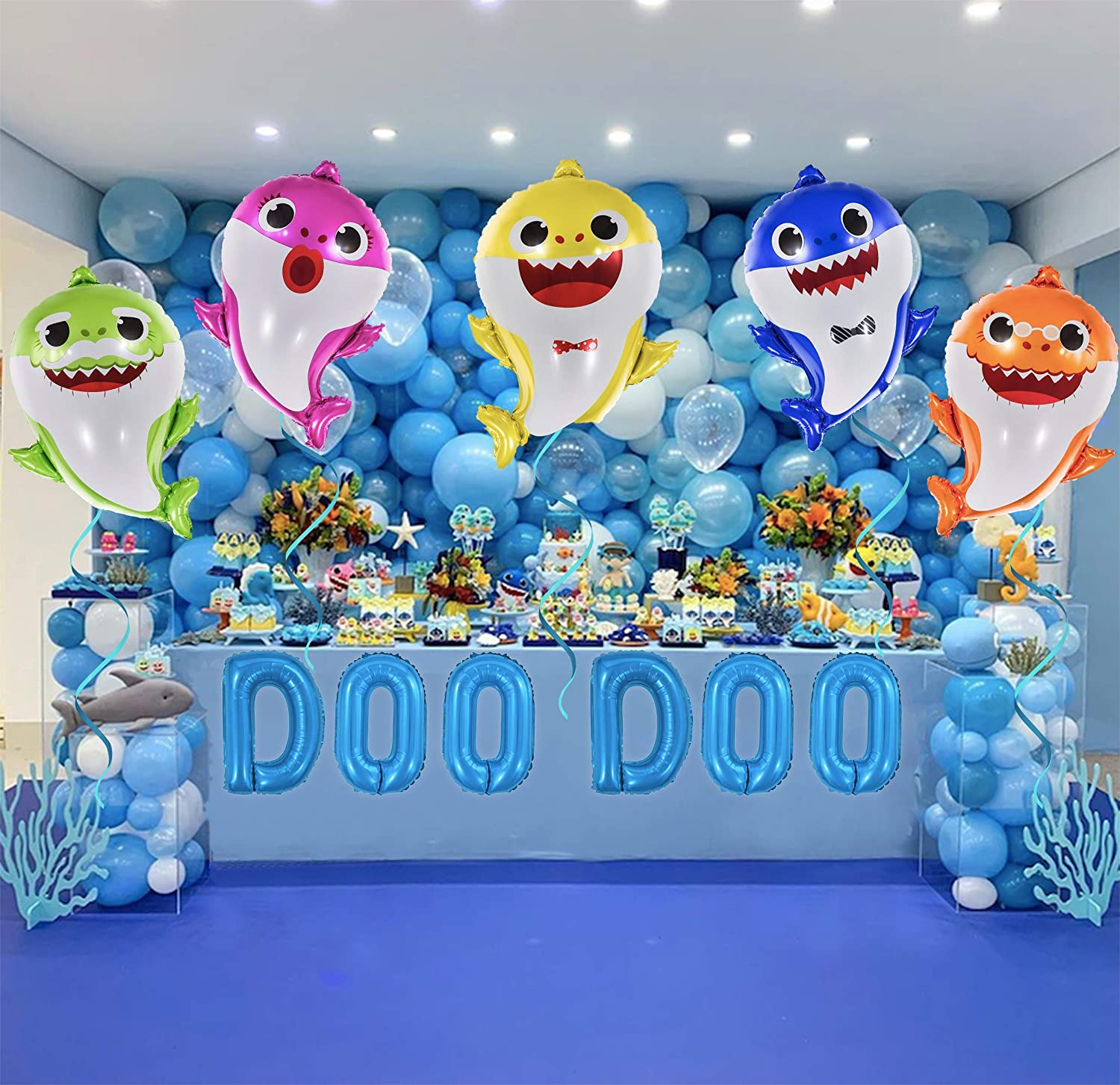 16 DOO DOO Letters OMG Party Factory Globos Para Fiestas 5pcs + Letters Huge 25 Baby Cute Shark Balloons All Family Members Included Doo Doo Birthday Party Decorations /& Supplies Helium Mylar Foil Balloons