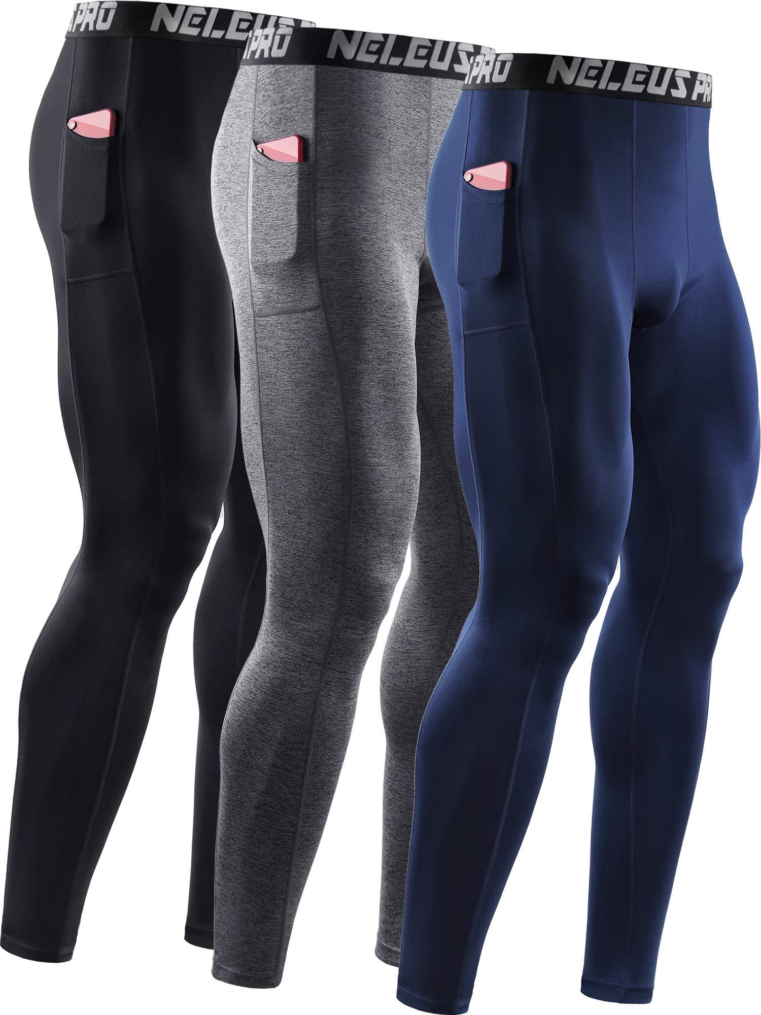 Neleus Men's 3 Pack Dry Fit Compression Pants