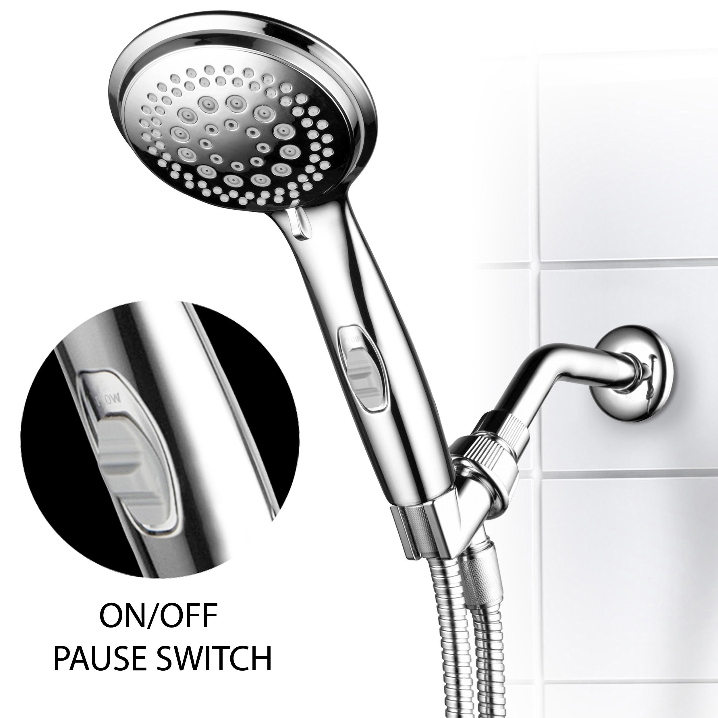 Dream Spa 1459 9-Setting High-Power Ultra-Luxury Handheld Shower Head with Patented ON / OFF Pause Switch and 5-7 foot Stretchable Stainless Steel Hose (Premium Chrome) Use as overhead or handshower by Dream Spa (Image #2)
