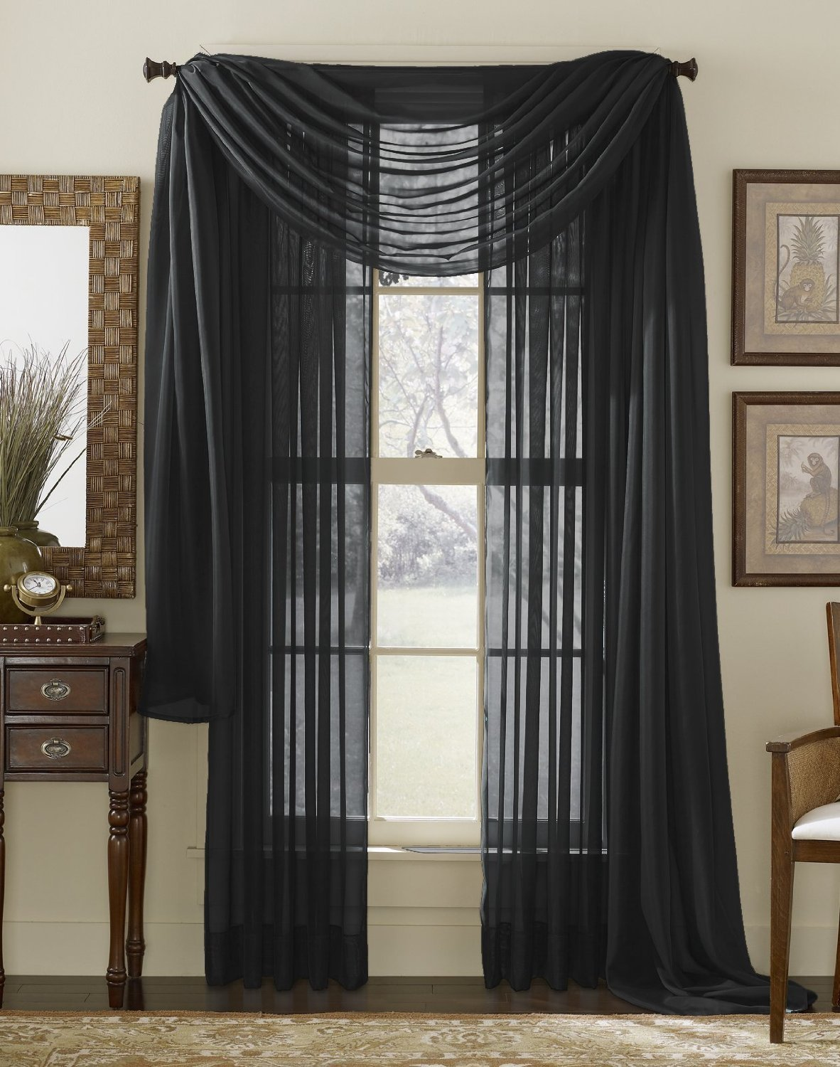 HLC.ME Black Sheer Voile Window Curtain Scarf - Valance