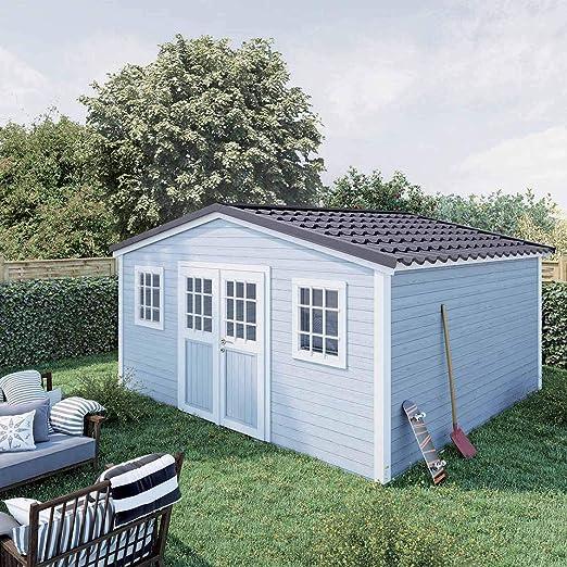Madeira - Cobertizo de jardín Premium Shelty Plus, 18 m2, Gran Capacidad de Almacenamiento, Techo de Acero galvanizado, 389 x 448 x 201 cm: Amazon.es: Jardín